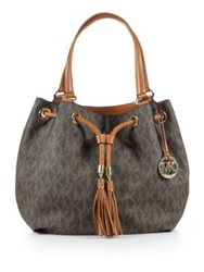 Michael Michael Kors Jet Set Item Large Coated Canvas And Leather Gathered Logo Tote Vanilla Brown