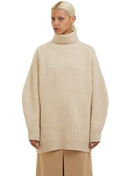 Acne Studios Isa Oversized Roll Neck Chunky Knit Sweater Beige