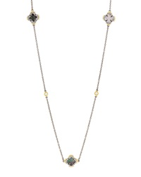Freida Rothman Long Two Tone Clover Spike Station Necklace Women's