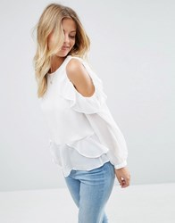 Asos Blouse With Ruffle Cold Shoulder Ivory White