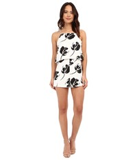 Brigitte Bailey Ella Floral Print Romper Black White Women's Jumpsuit And Rompers One Piece
