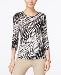 Jm Collection Printed Three Quarter Sleeve Top Only At Macy's Black Ribbon
