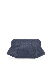 Lauren Merkin Tatum Ostrich Embossed Clutch Bag Navy