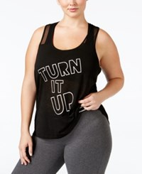 Material Girl Active Plus Size Turn It Up Graphic Racerback Tank Top Only At Macy's Noir