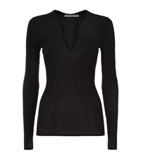 Sandro Sacha Slim Ribbed Laced Front Top Female Dark Grey