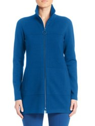 Akris Punto Long Wool Zip Front Cardigan Tarn