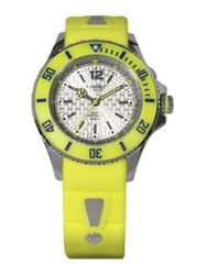 Kyboe Neon Yellow Silicone And Stainless Steel Strap Watch 40Mm
