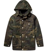 Freemans Sporting Club Freeman Porting Ile Of Man Camouflage Print Waxed Cotton Coat Army Green