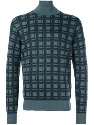 Brioni Checked Pattern Pullover Blue