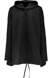 Norma Kamali Quilted Silk Hooded Jacket Black