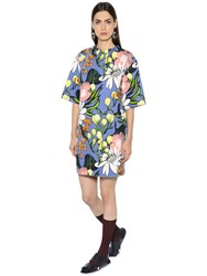 Marni Floral Print Cotton And Linen Drill Dress
