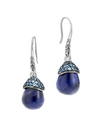 John Hardy Sterling Silver Classic Chain Celestial Orb Sodalite Drop Earrings With Sapphire Blue Silver