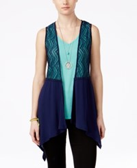 Self Esteem Juniors' 3Fer Crochet Vest With Tank And Necklace Blueprint