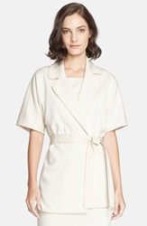 St. John Milano Knit Jacket With Leather Trim And Belt Linen