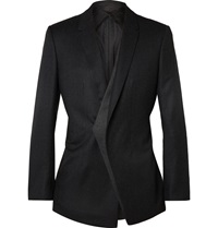Kilgour Charcoal Slim Fit Asymmetric Wool Blazer Gray