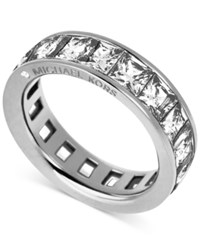 Michael Kors Silver Tone Ring With Square Cut Stones