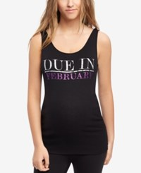 Motherhood Maternity Ribbed Graphic Tank Amethyst Glitter