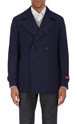 Isaia Men's Double Faced Wool Cashmere Peacoat Navy