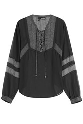 The Kooples Blouse With Sheer Panels Black
