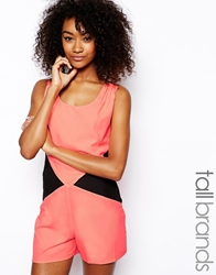 Girls On Film Tall Colour Block Playsuit With Lace Panels Neonpink