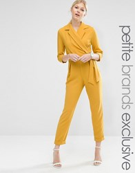 Alter Petite Tailored Jumpsuit With Wrap And Tie Belt Detail Marigold Yellow