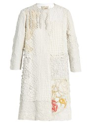 By Walid Collarless Crochet Coat White