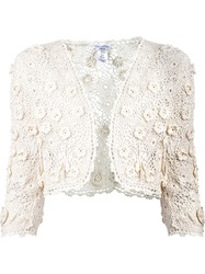 Oscar De La Renta Cropped Crochet Jacket White