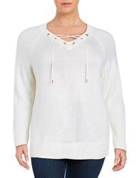 Calvin Klein Plus Lace Up V Neck Sweater Soft White