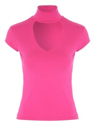 Jane Norman Choker Cap Sleeve Top Sorbet