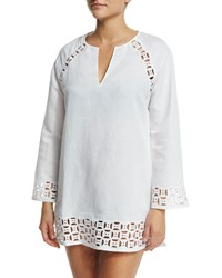 Tory Burch Embroidered Cutout Linen Blend Tunic Coverup White White
