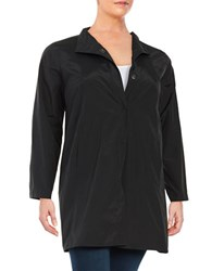 Eileen Fisher Plus Collared Lightweight Jacket Black