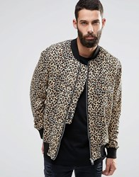 Religion Leopard Print Jersey Bomber Jacket Brown Animal