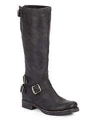 Frye Veronica Knee High Leather Buckle Boots Black