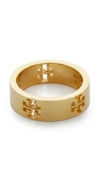 Tory Burch Pierced T Ring Shiny Gold