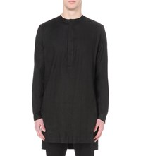 Haider Ackermann Loose Fit Stretch Linen Shirt Black