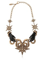 Roberto Cavalli Snake Star Brass Necklace