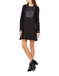 Bcbgmaxazria Aero Faux Leather Blocked Dress Black