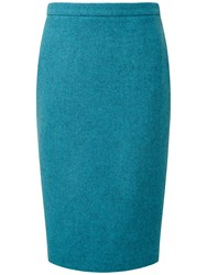 Pure Collection Brooke Wool Pencil Skirt Turquoise