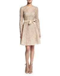 Elie Saab Beaded A Line Cocktail Dress Warm Gray Warm Grey