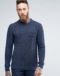 Asos Cable Knit Jumper With Chest Pocket Navy