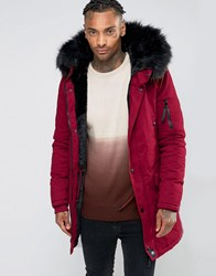 Sixth June Parka With Faux Fur Hood Burgundy Red