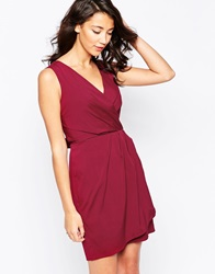 Closet Dress With Tie Front Detail Burgandy