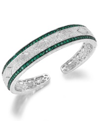 Macy's Emerald 1 1 3 Ct. T.W. And Diamond 1 10 C.T. T.W. Antique Cuff Bracelet In Sterling Silver