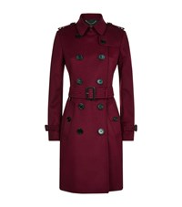 Burberry Kensington Wool Cashmere Mid Length Trench Coat Female Wine