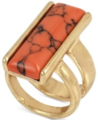 Kenneth Cole New York Large Rectangular Veined Stone Statement Ring Gold