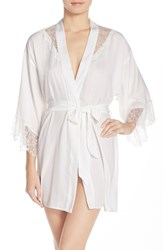 Women's Betsey Johnson Washed Satin Short Robe Pearl
