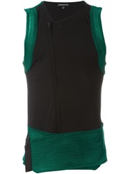 Ann Demeulemeester Two Tone Buckled Top Green