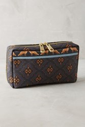 Anthropologie Friendly Fox Cosmetic Case Navy