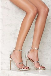 Nasty Gal Fit To Thrill Strappy Heel Silver Metallic