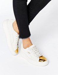 Puma Suede Platform Trainers In White With Gold Toe Cap Gold White